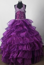 Elegant Ball Gown Halter Floor-length Eggplant Quinceanera Dress LJ2648