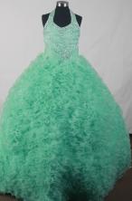 Elegant Ball Gown Halter Top Neck Floor-length Green Dress LJ2603