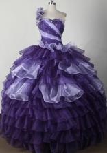 Elegant Ball Gown One Shoulder Neck Floor-length Quinceanera Dress LJ2641
