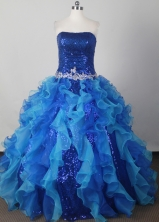 Elegant Ball Gown Strapless Floor-length Blue Quinceanera Dress LJ2617