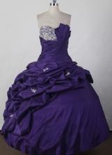 Elegant Ball Gown Strapless Floor-length Dark Purple Quinceanera Dress LJ2670