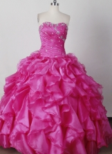 Elegant Ball Gown Strapless Floor-length Hot Pink Quinceanera Dress LJ2619