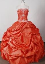 Elegant Ball Gown Strapless Floor-length Orange Quinceanera Dress LJ2620