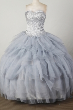 Elegant Ball Gown Sweetheart Floor-length Silver Quincenera Dresses TD26