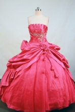 Elegant Ball gown Strapless Floor-length Appliques Taffeta Quinceanera Dresses Style FA-C-093