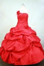 Elegant Ball gown Strapless Floor-length Taffeta Red Quinceanera Dresses Style FA-C-105