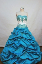 Elegant ball gown strapless floor-  length appliques teal quinceanera   dresses FA-X-041