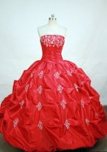 Elegant ball gown strapless floor-length  red taffeta appliques quinceanera dress FA-X-011