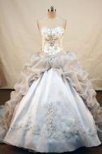 Fashionable ball gown sweetheart-neck chapel appliques white taffeta quinceanera dress FA-X-025