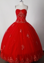Formal Ball Gown Strapless Floor-length Red Quinceanera Dress LJ2643