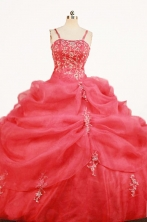 Gorgeous Ball Gown Strap Floor-length Red Organza Quinceanera Dresses Style FA-W-357