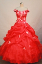 Gorgeous ball gown off the shoulder floor-length appliques red organza quinceanera dress FA-X-029