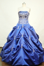 Gorgeous ball gown strapless floor-length embroidery blue satin quinceanera dress FA-X-013