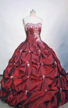 Inexpensive ball gown sweetheart-neck floor-length appliques burgundy taffeta quinceanera dress FA-X-027