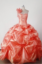 Lovely Ball Gown One Shoulder Floor-length Orange Red Quincenera Dresses TD260013
