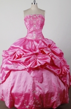 Lovely Ball Gown Strapless Floor-length Hot Pink Quincenera Dresses TD260035
