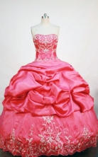 Lovely  ball gown strapless floor-length  embroidery coral red taffeta quinceanera dress FA-X-058