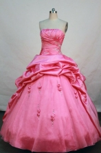 Lovely ball gown strapless floor-length  watermelon taffeta beading quinceanera dress FA-X-017