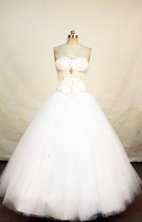 Lovely ball gown sweetheart-neck floor-length beading white quinceanera dress FA-X-034