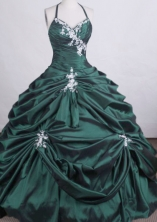 Luxurious Ball gown Halter top Floor-length Quinceanera Dresses Appliques Style FA-Z-0026