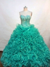Luxurious ball gown sweetheart-neck floor-length turquoise organza beading quinceanera dresses with rolling flowers FA-X-054