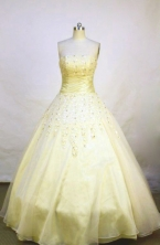 Modest A-line strapless floor-length champagne appliques quinceanera dress FA-X-018