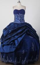 Modest Ball Gown Strapless Floor-length Blue Quinceanera Dress LJ2665