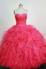 Modest ball gown sweetheart-neck floor-length coral red organza beading quinceanera dress FA-X-059