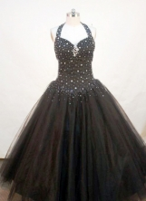 Perfect A-line Halter top Floor-length Beading Sequins Quinceanera Dresses FA-Z-128