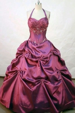 Perfect ball gown halter top floor-length wine red satin appliques quinceanera dress FA-X-031
