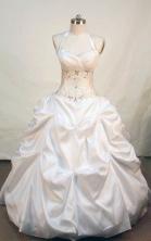 Perfect ball gown halter top neck floor-length taffeta appliques white quinceanera dress FA-X-009