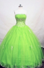 Perfect ball gown strapless floor-length appliques spring green quinceanera dresses FA-X-038