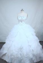 Perfect ball gown sweetheart-neck chapel white taffeta appliques quinceanera dress FA-X-48