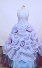Popular ball gown one shoulder floor-length organza appliques purple quinceanera dress FA-X-051