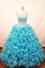 Popular ball gown strapless floor-length beading teal organza quinceaner drees FA-X-030