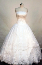 Popular ball gown strapless floor-length lace white quinceanera dress FA-X-020