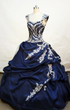 Popular ball gown sweetheart-neck floor-length navy blue taffeta appliques with beading quinceanera dress FA-X-003