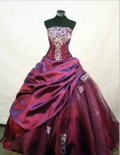 Pretty Ball gown StraplessFloor-length Quinceanera Dresses Appliques with Beading Style FA-Z-0070