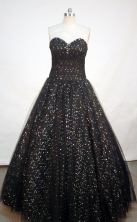 Pretty ball gown sweetheart-neck floor-length black quinceanera dress FA-X-012