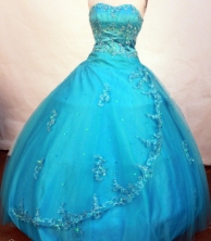 Romantic ball gown sweetheart-neck floor-length net appliques teal quinceanera dresses FA-X-108