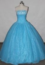 Simple A-line Strapless Floor-length Quinceanera Dresses Appliques Style FA-Z-0032