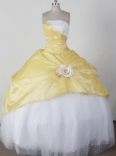 Simple Ball Gown Strapless Floor-length Yellow Quincenera Dresses TD260038