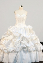 Simple Ball Gown Sweetheart-neck Floor-length Taffeta Quinceanera Dresses Style FA-W-358