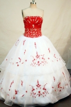Simple ball gown strapless floor-length embroidery with beading white quinceanera dresses FA-X-010