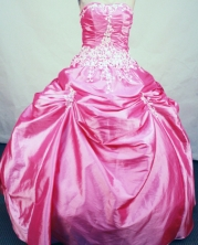 Simple ball gown strapless floor-length taffeta appliques watermelon quinceanera dresses FA-X-100