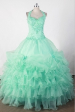 Sweet Ball Gown Halter Floor-length Green Quincenera Dresses TD260015