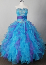Sweet Ball Gown Strapless Floor-length Blue Quinceanera Dress LJ2623