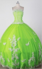 Sweet Ball Gown Strapless Floor-length Green Quincenera Dresses TD260019