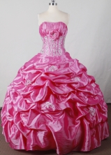 Sweet Ball Gown Strapless Floor-length Hot Pink Quincenera Dresses TD260029