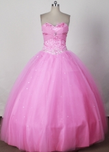 Sweet Ball Gown Strapless Floor-length Pink Quinceanera Dress LJ2661